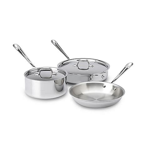 bed bath and beyond pots and pans all clad 174 3 ply stainless steel 5 piece cookware set bed