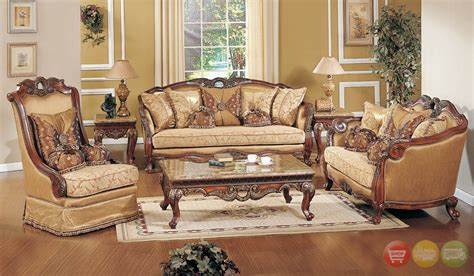 sofas with wood accents traditional formal living room sofa set medium cherry
