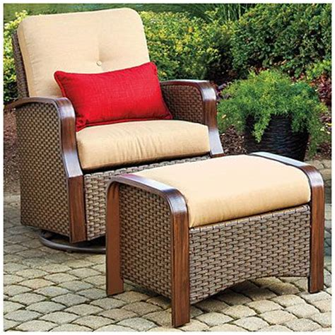 big lots outdoor ottoman wilson fisher 174 tuscany resin wicker set of 2 cushioned