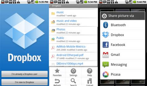 dropbox android android gets dropbox
