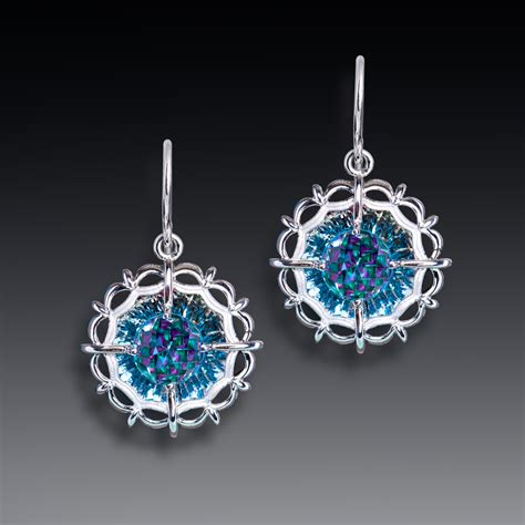 light blue topaz earrings circles of light blue topaz davinchi cut earrings shopinde