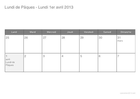 Calendrier Paques 2013 Calendrier Lundi Paques 1 Avril 2013