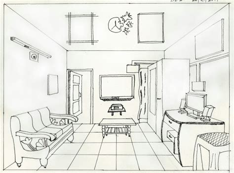 one point perspective room sketches suraj chaudhary