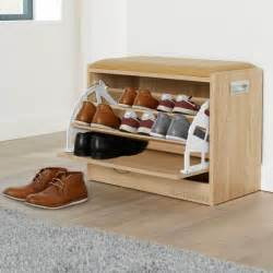ottoman shoe cabinet seat storage closet wooden rack