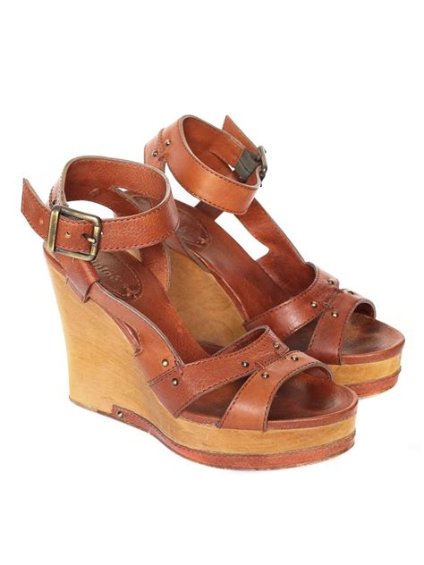 wooden heeled sandals louise camel brown leather wedge wooden heel
