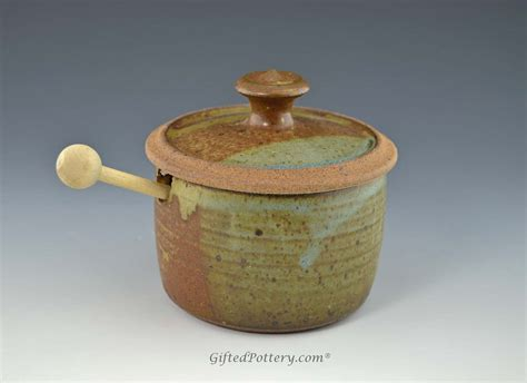 Handmade Pots - handmade pottery honey pot jar blue brown terracotta