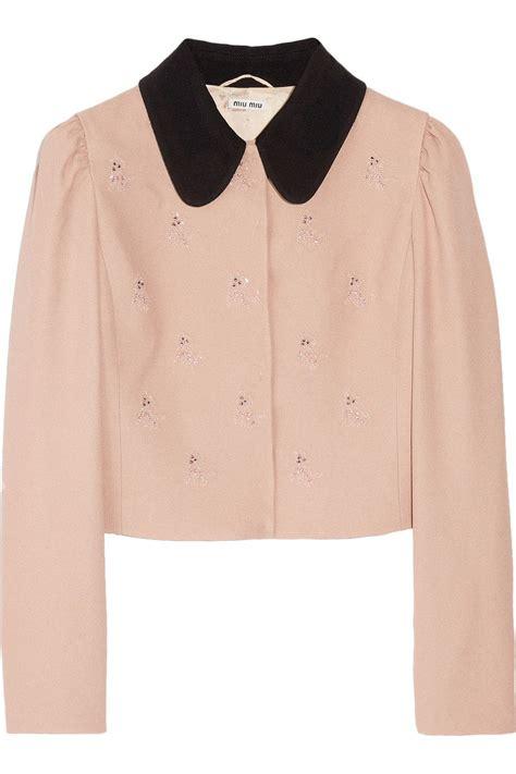 Miu Miu Motif miu miu motif cropped crepe jacket 64 now at