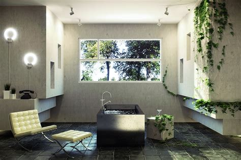 design interior nature sunlight streams into bathrooms connected to nature