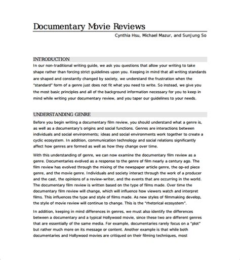 9 Film Review Templates Word Pdf Sle Templates Documentary Template