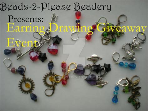 Giveaway Drawing - march earring drawing giveaway event by beadclass on deviantart