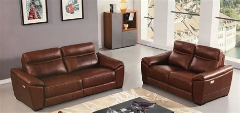 Forma Full Italian Brown Leather Power Recliner Loveseat Leather Power Reclining Sofa Set