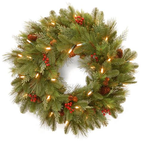 led wreaths battery operated national tree company 24 in noelle artificial