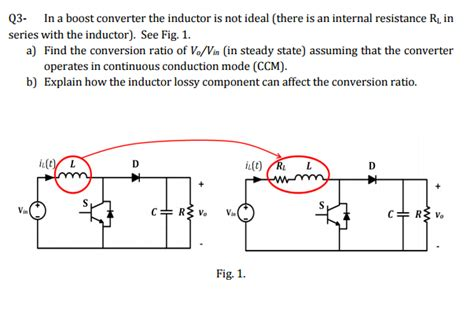 resistance of ideal inductor in a boost converter the inductor is not ideal th chegg