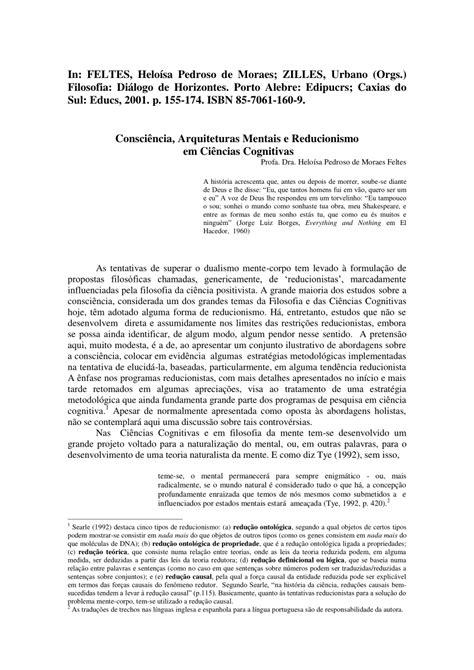 (PDF) Consciência, Arquiteturas Mentais e Reducionismo em