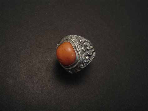 tribal coral and silver ring christopher william sydney