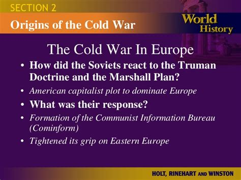 chapter 16 section 2 war in europe ch 22 2 origins of the cold war