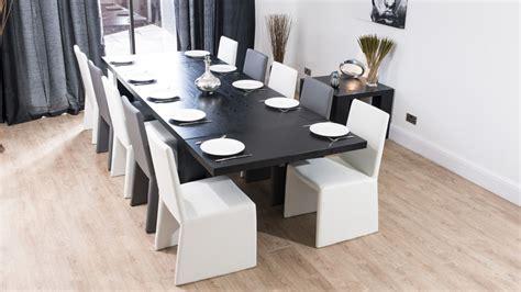 Black Extending Dining Table Modern Large Extending Black Ash Dining Table Chunky Legs Seats 14