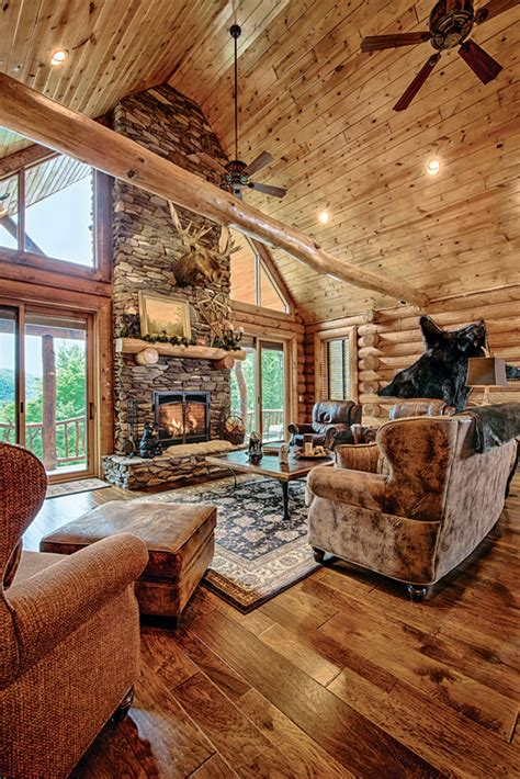 Pictures Of Log Home Interiors by A Mountain Log Home In New Hshire