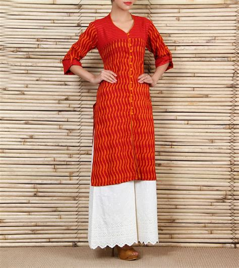 kurta stitching pattern this is a maroon and rust hand woven ikkat cotton kurta