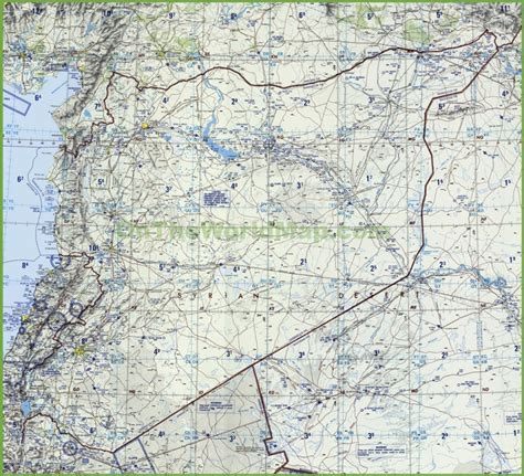 syria map of topographic map of syria