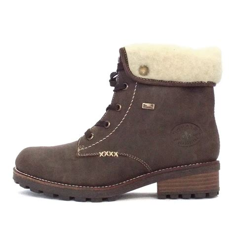 rieker bastia lace up ankle boot in brown mozimo