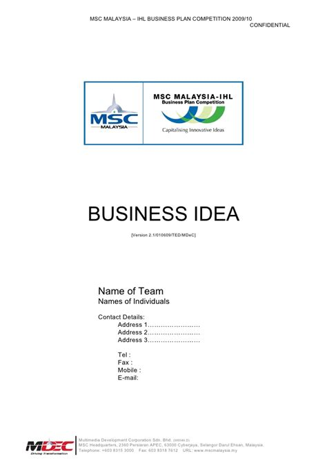 business idea template for 09765 m i b p c2009 business idea template