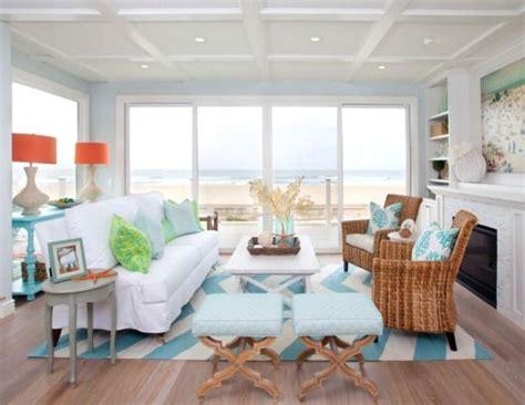 blue chevron rug for coastal decor in living room http