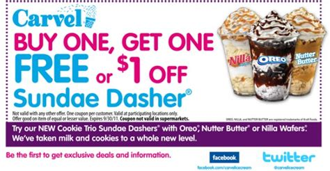 Deals Buy One Sundae Get One Free carvel coupon buy one get one free mojosavings