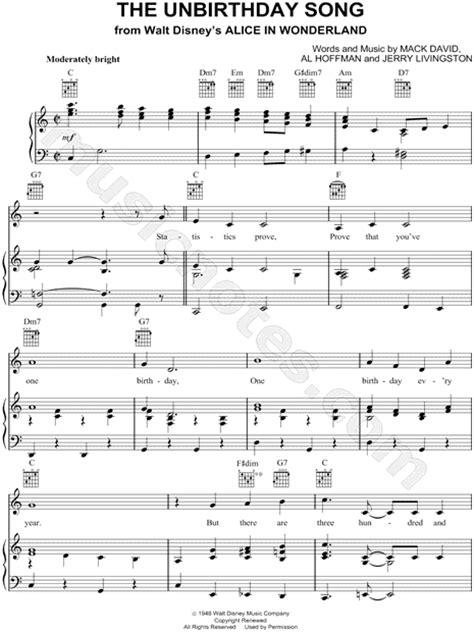 unbirthday song  alice  wonderland sheet    major transposable