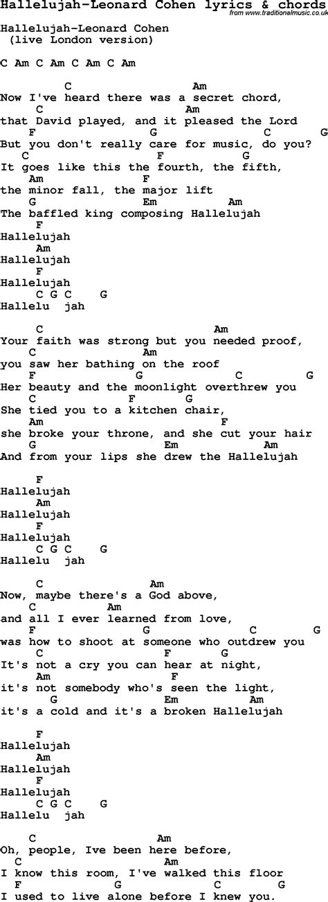 printable lyrics hallelujah love song lyrics for hallelujah leonard cohen with chords