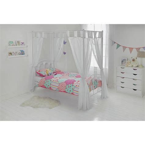 argos pink bedroom furniture buy hearts single four poster bed frame white at argos