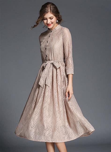 Lace Sleeve Midi Dress 3 4 sleeve lace midi dress with belt novashe