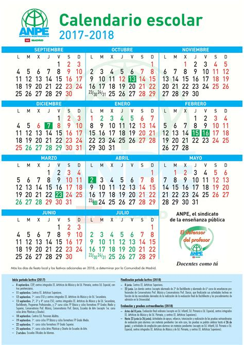 Calendario Escolar Madrid Capital 2017 Portal Web De Anpe Madrid
