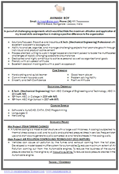 mechanical engineer cv format doc 10000 cv and resume sles with free mechanical engineer resume for fresher