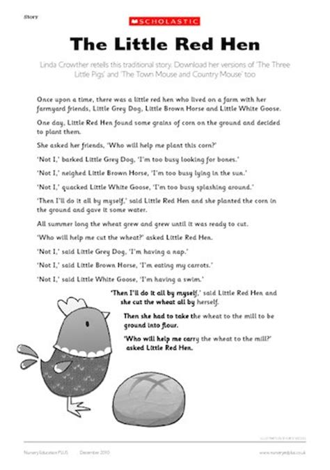 printable version of little red hen little red hen story early years teaching resource