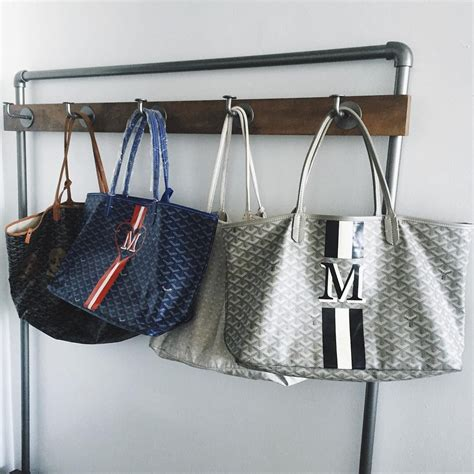 Goyard Tote By Edgy La Mode monogrammed goyard totes grey with pink and white or