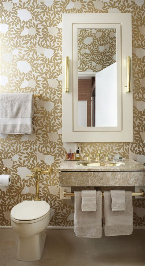 wallpaper trends for bathrooms on trend bold wallpaper in a small bath haddad