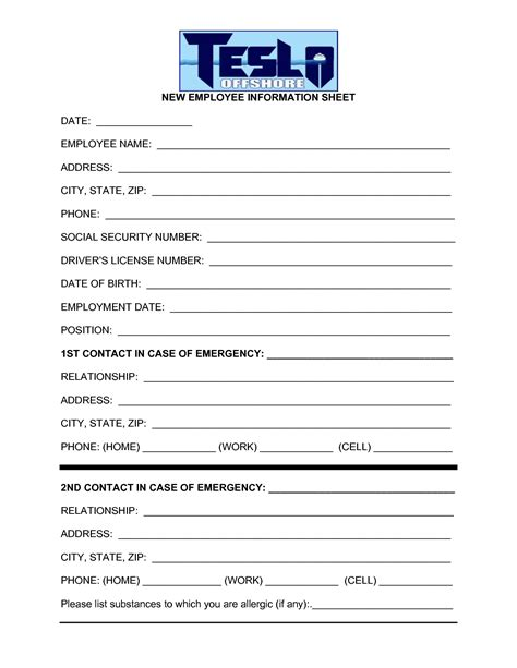 employee information form template best photos of employee information template employee
