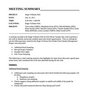 sample meeting summary template 11 free documents in