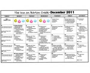Assisted Living Activity Calendar Template by Barton Creek Assisted Living December 2011 Activities