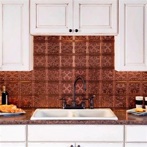 Fasade Kitchen Backsplash Panels Fasade 24 In X 18 In Traditional 10 Pvc Decorative Backsplash Panel In Rubbed Bronze B57