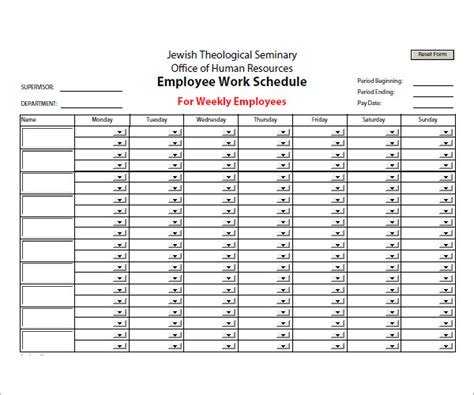 work from home schedule template sle employee schedule 13 documents in pdf word