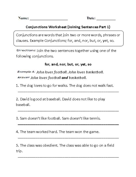 comfortable sentence englishlinx com conjunctions worksheets