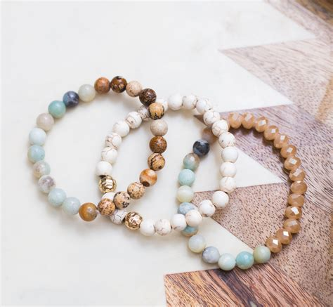 Beaded Bracelet Set amazonite jasper howlite beaded bracelet set panacea jewelry