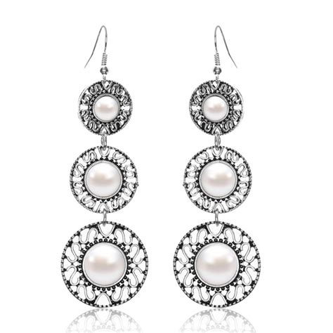 Circle Metal Earrings pearl earrings silver metal dangle style circles