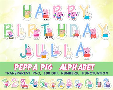 peppa pig printable birthday decorations peppa pig alphabet clipart birthday decorations digital