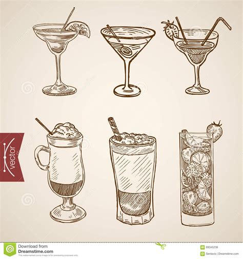 vintage cocktail vector coffee late cappuccino creme cocktail engraving vector