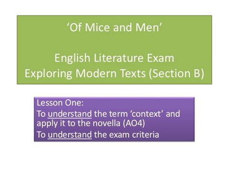 of mice and men section 1 of mice and men literature exam