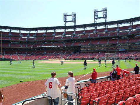 busch stadium section 165 st louis cardinals dugout boxes section 165