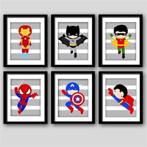 printable heroes catalog pick 6 superhero wall prints super hero wall art boys